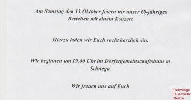 Kreisfeuerwehrmusikzug Clenze, Einladung